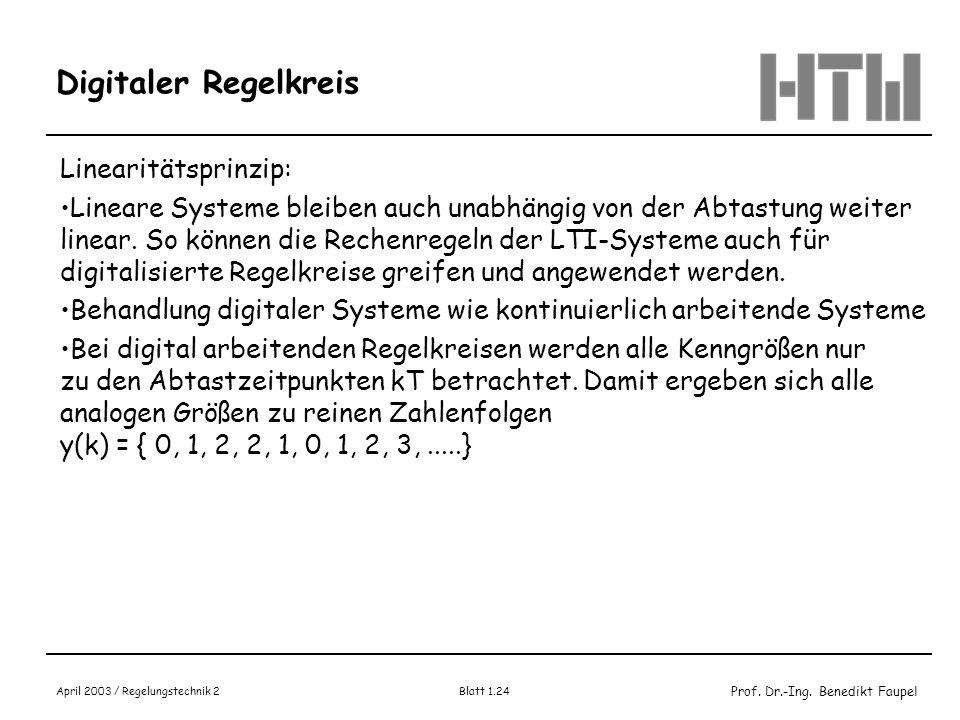 Prof. Dr.-Ing. Benedikt Faupel April 2003 / Regelungstechnik 2 Blatt 1.24 Digitaler Regelkreis Linearitätsprinzip: Lineare Systeme bleiben auch unabhä