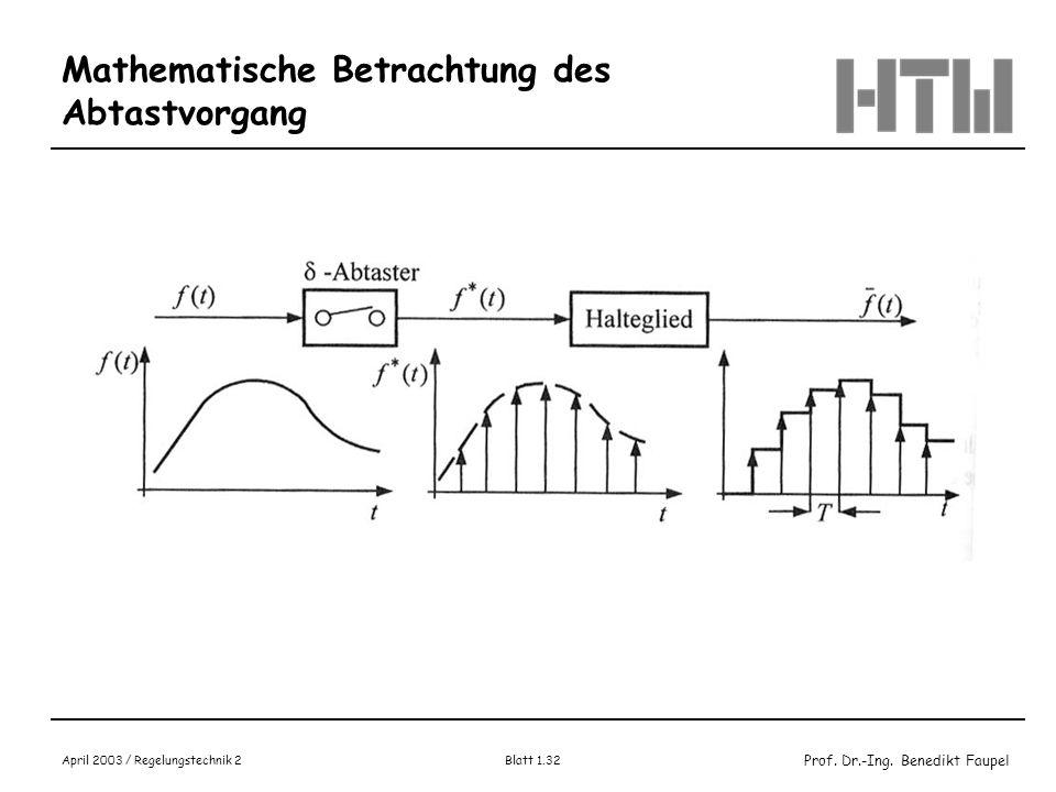 Prof. Dr.-Ing. Benedikt Faupel April 2003 / Regelungstechnik 2 Blatt 1.32 Mathematische Betrachtung des Abtastvorgang