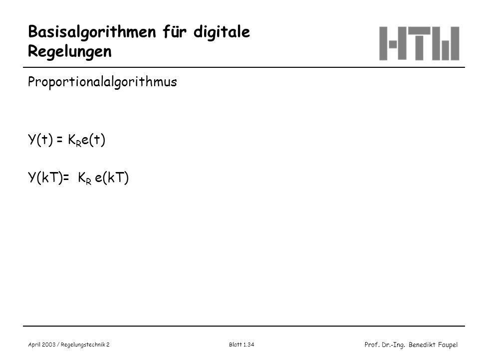 Prof. Dr.-Ing. Benedikt Faupel April 2003 / Regelungstechnik 2 Blatt 1.34 Basisalgorithmen für digitale Regelungen Proportionalalgorithmus Y(t) = K R