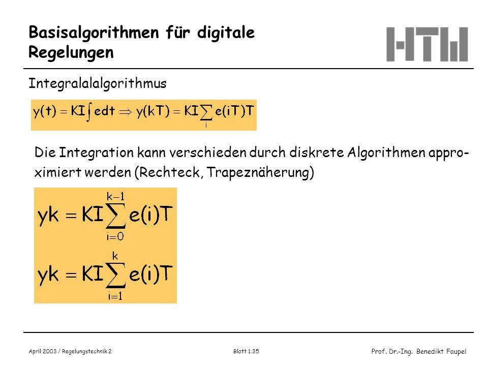 Prof. Dr.-Ing. Benedikt Faupel April 2003 / Regelungstechnik 2 Blatt 1.35 Basisalgorithmen für digitale Regelungen Integralalalgorithmus Die Integrati