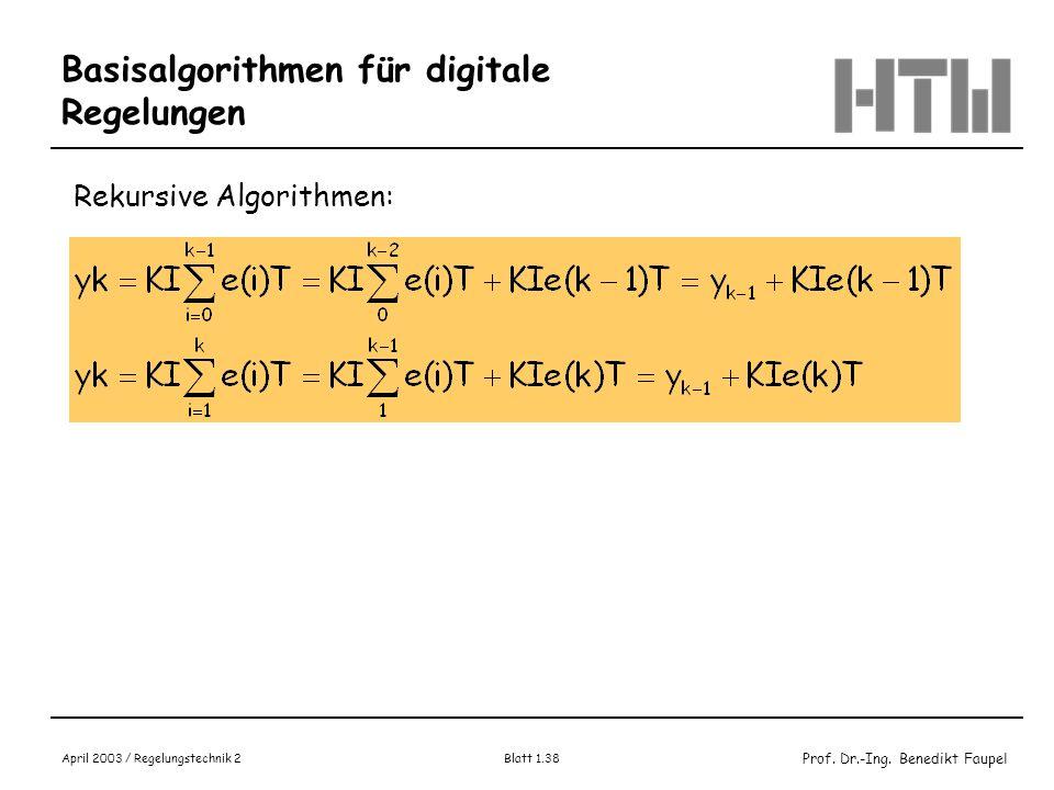 Prof. Dr.-Ing. Benedikt Faupel April 2003 / Regelungstechnik 2 Blatt 1.38 Basisalgorithmen für digitale Regelungen Rekursive Algorithmen: