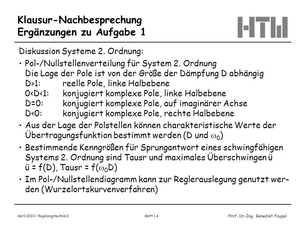 Prof. Dr.-Ing. Benedikt Faupel April 2003 / Regelungstechnik 2 Blatt 1.4 Klausur-Nachbesprechung Ergänzungen zu Aufgabe 1 Diskussion Systeme 2. Ordnun