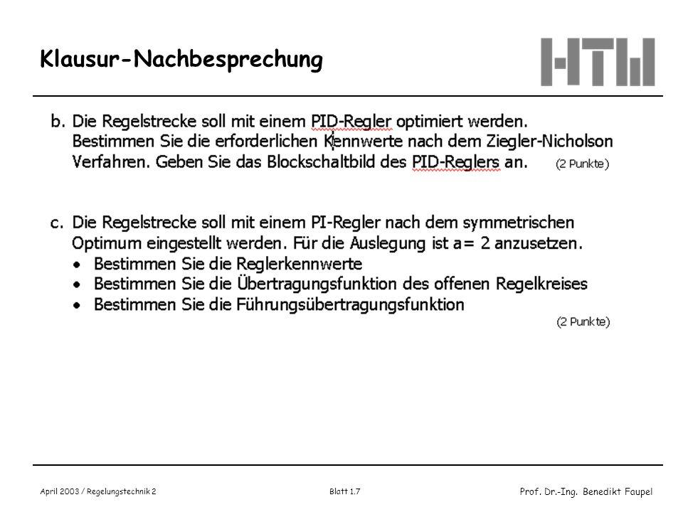 Prof. Dr.-Ing. Benedikt Faupel April 2003 / Regelungstechnik 2 Blatt 1.7 Klausur-Nachbesprechung