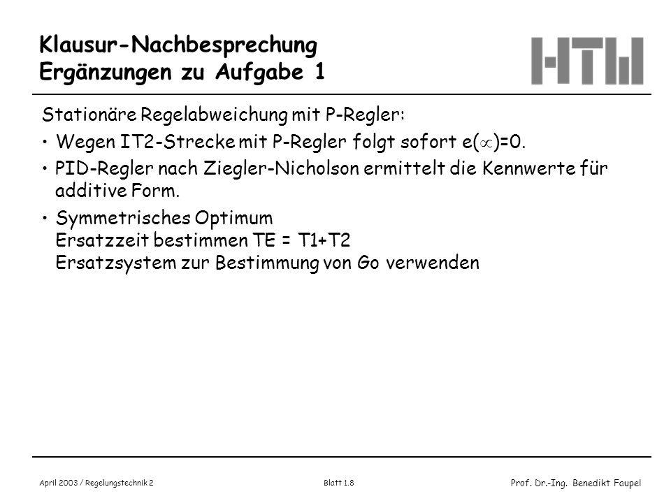 Prof. Dr.-Ing. Benedikt Faupel April 2003 / Regelungstechnik 2 Blatt 1.8 Klausur-Nachbesprechung Ergänzungen zu Aufgabe 1 Stationäre Regelabweichung m
