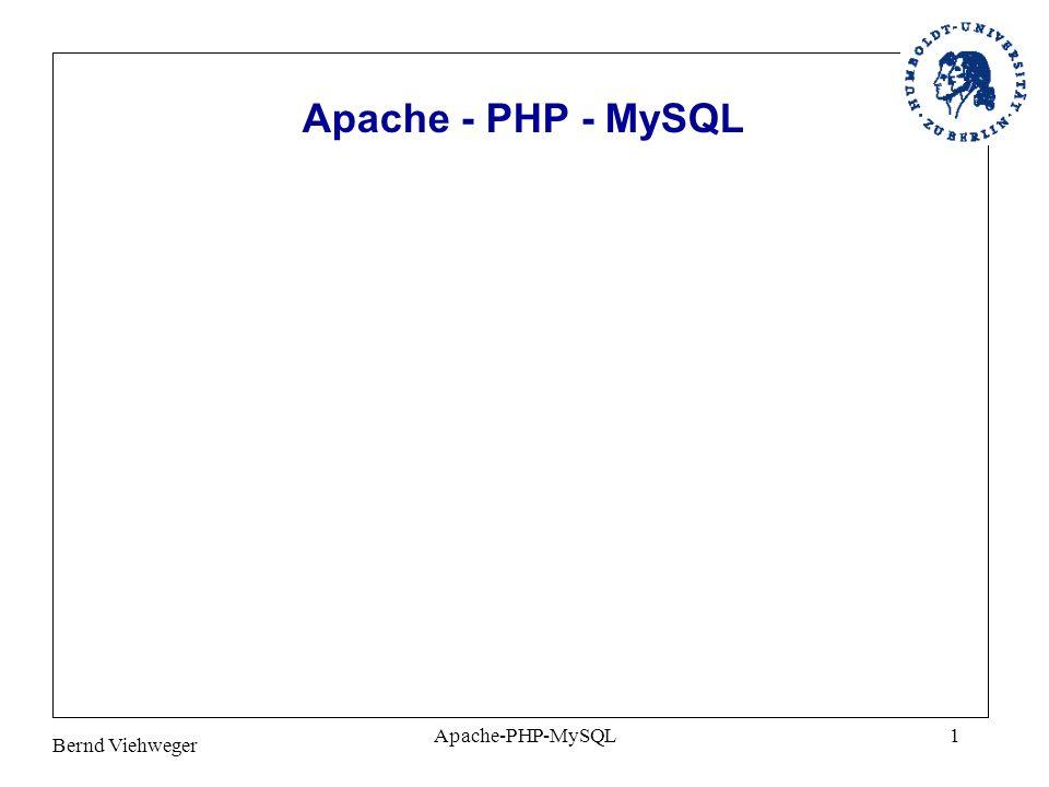 Bernd Viehweger Apache-PHP-MySQL2 Client Server Prinzip Web- Server #1 Web- Server #2 Datenbank- Server Browser Ebene (Client) Web-Server Ebene Datenbank-Server Ebene