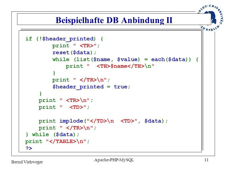 Bernd Viehweger Apache-PHP-MySQL11 Beispielhafte DB Anbindung II if (!$header_printed) { print