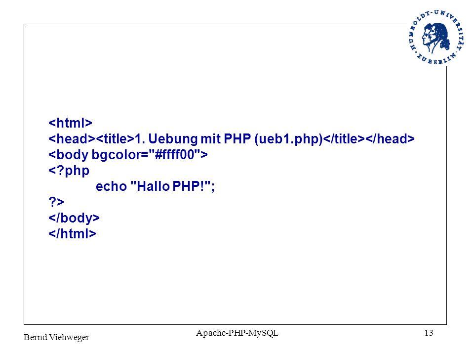 Bernd Viehweger Apache-PHP-MySQL13 1. Uebung mit PHP (ueb1.php) <?php echo