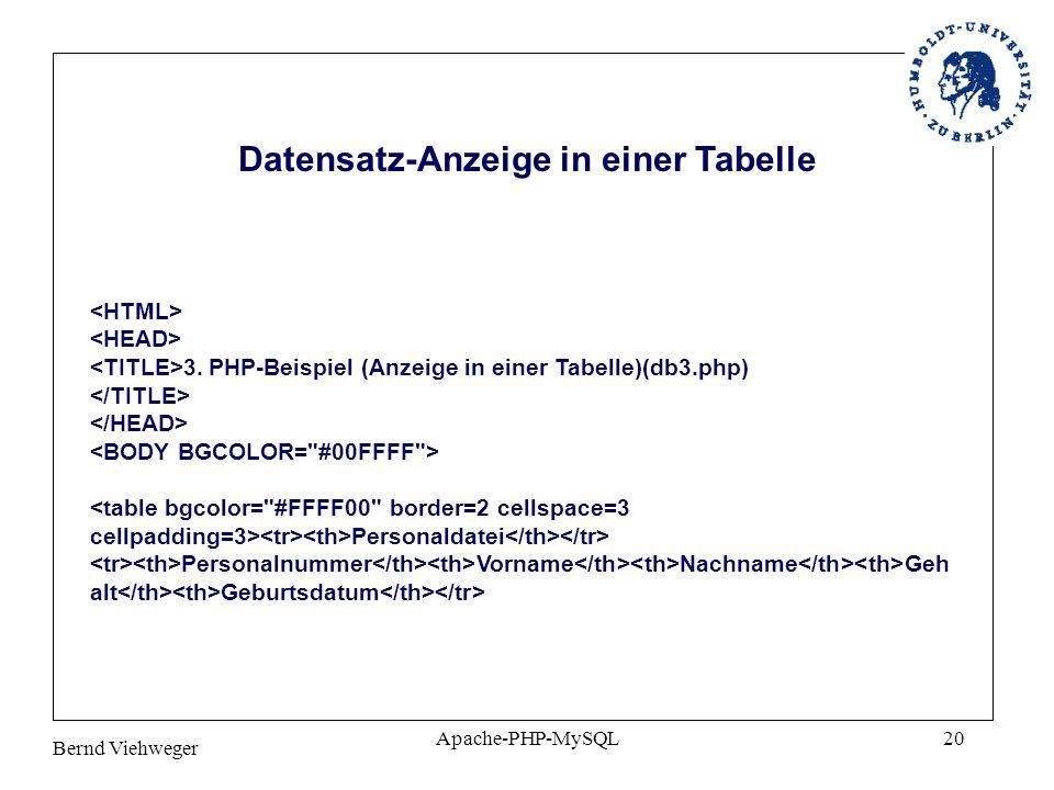 Bernd Viehweger Apache-PHP-MySQL20 3. PHP-Beispiel (Anzeige in einer Tabelle)(db3.php) Personaldatei Personalnummer Vorname Nachname Geh alt Geburtsda