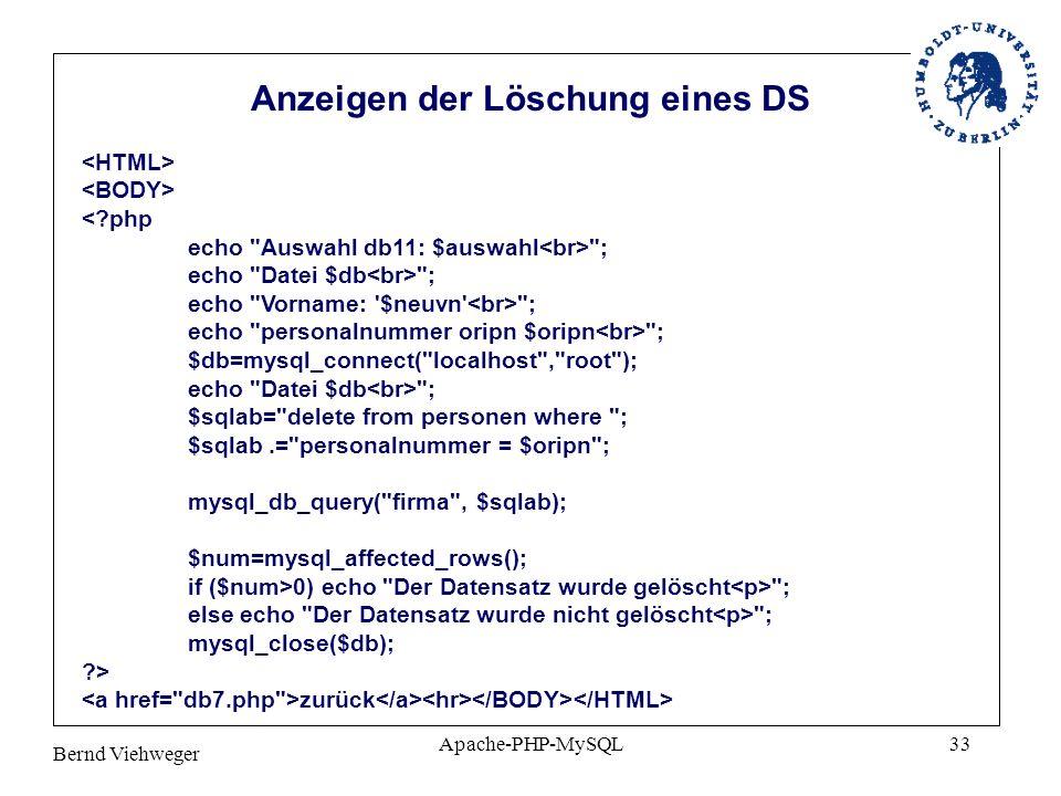 Bernd Viehweger Apache-PHP-MySQL33 <?php echo
