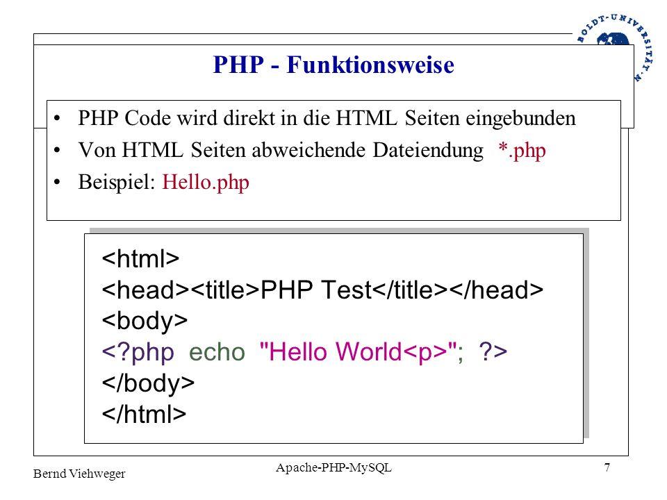 Bernd Viehweger Apache-PHP-MySQL8 PHP Datenbankanbindung PHP stellt Verbindung zwischen einer verwendeten Datenban und dem Web Server her Einbindung von gespeichertem Datenmaterial in Internetseiten PHP agiert somit u.a.