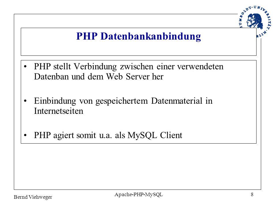 Bernd Viehweger Apache-PHP-MySQL9 Einbindung PHP als Apache-Modul Basis-Server PHP – Interpreter (Modul) Web-Server (Apache) DB-Server (MySQL).php Webseite in HTML: Hello world Antwort Webseite mit inte- griertem PHP-Code: Anfrage Browser (Client)