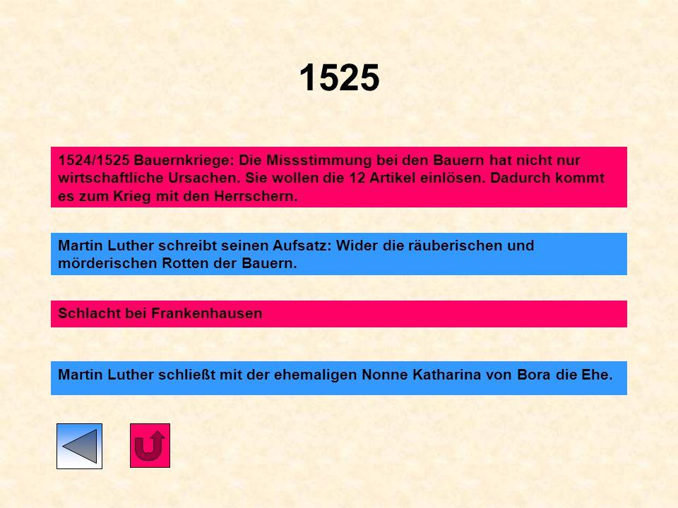 1523 Zwingli führt die Reformation in der Schweiz ein Martin Luther schreibt seinen Aufsatz: Von weltlicher Obrigkeit
