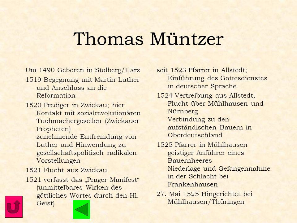 Ulrich Zwingli 1. Jan. 1484 Geboren in Wildhaus Theologiestudium in Wien und Basel 1506-16 Pfarrer in Glarus 1515 Bekanntschaft mit Erasmus von Rotter