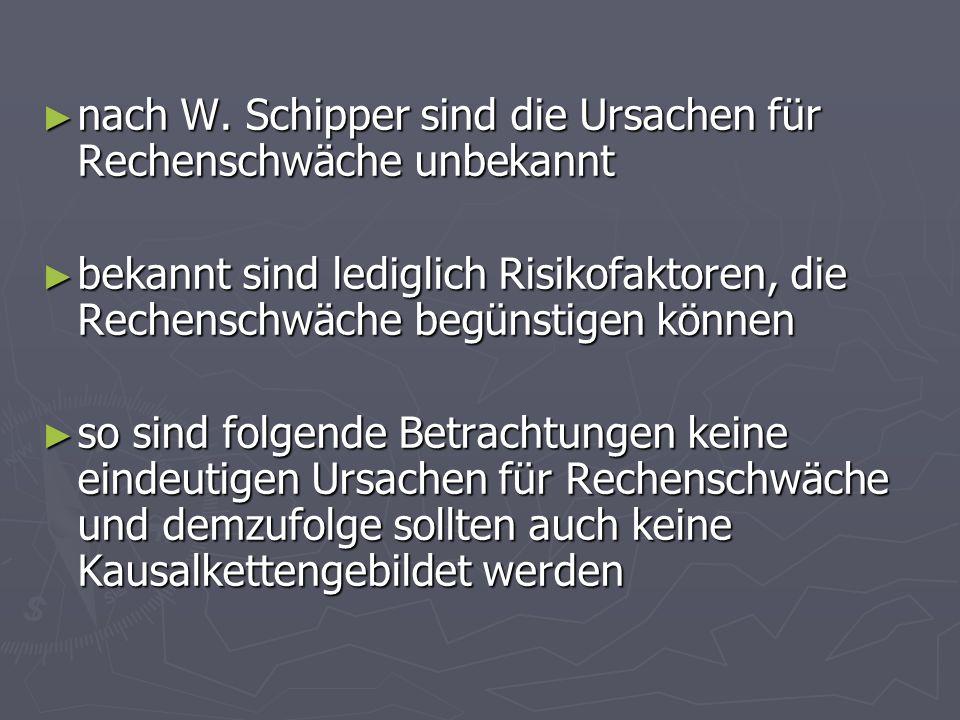 nach W. Schipper sind die Ursachen für Rechenschwäche unbekannt nach W. Schipper sind die Ursachen für Rechenschwäche unbekannt bekannt sind lediglich