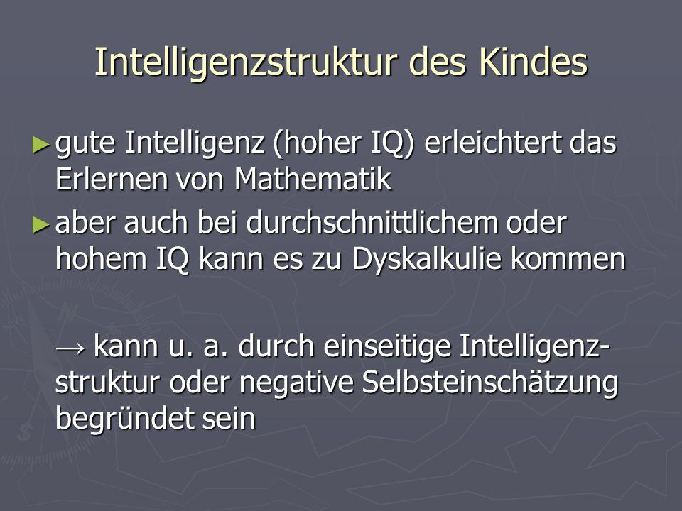Intelligenzstruktur des Kindes gute Intelligenz (hoher IQ) erleichtert das Erlernen von Mathematik gute Intelligenz (hoher IQ) erleichtert das Erlerne