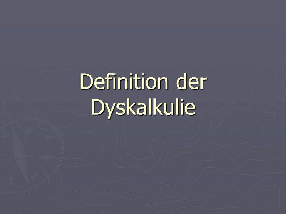 Definition der Dyskalkulie