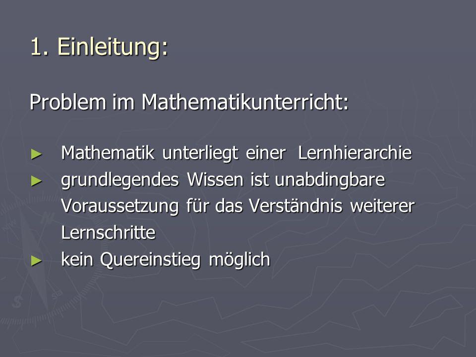 1. Einleitung: Problem im Mathematikunterricht: Mathematik unterliegt einer Lernhierarchie Mathematik unterliegt einer Lernhierarchie grundlegendes Wi