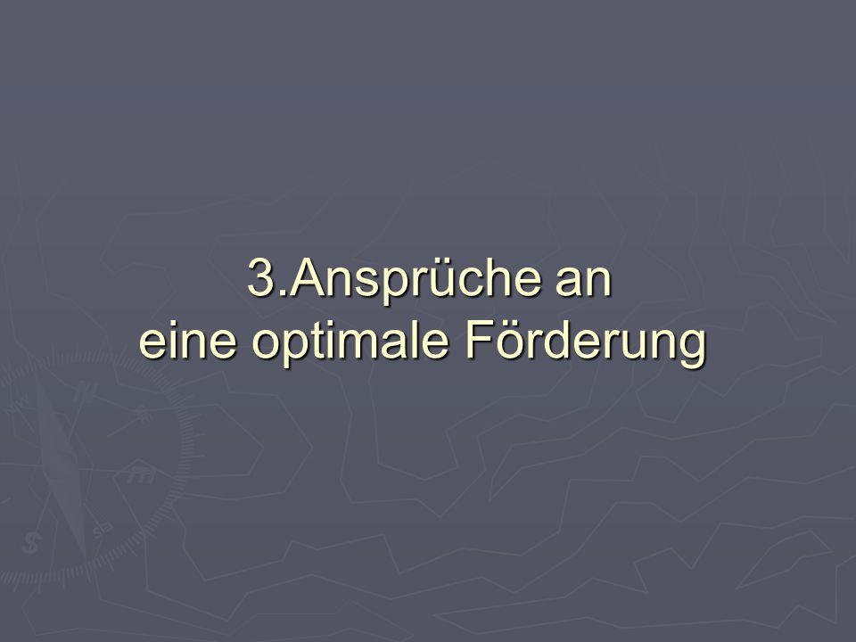 3.Ansprüche an eine optimale Förderung 3.Ansprüche an eine optimale Förderung