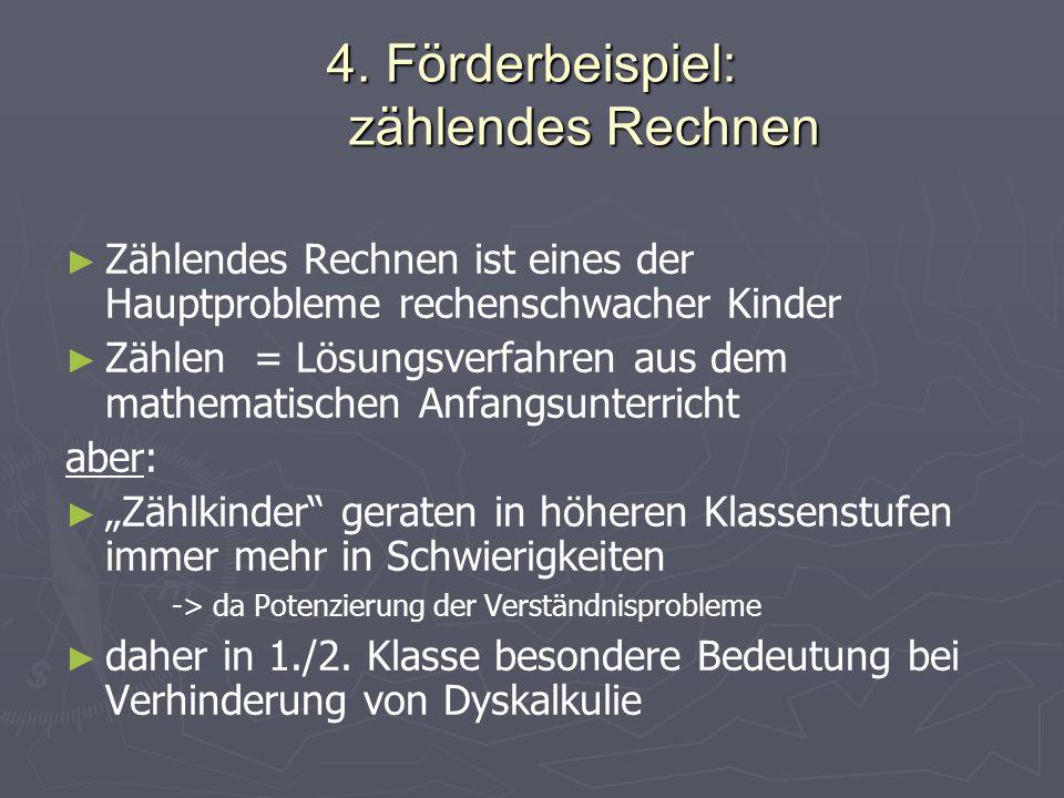 4. Förderbeispiel: zählendes Rechnen Zählendes Rechnen ist eines der Hauptprobleme rechenschwacher Kinder Zählen = Lösungsverfahren aus dem mathematis