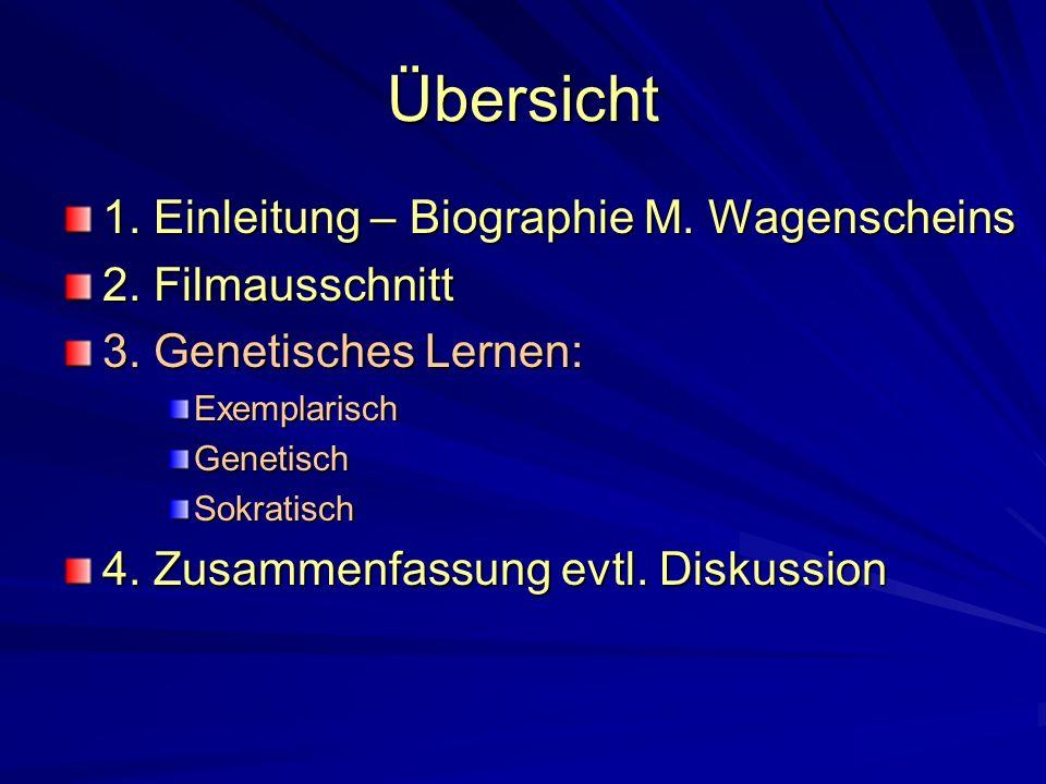 Übersicht 1. Einleitung – Biographie M. Wagenscheins 2. Filmausschnitt 3. Genetisches Lernen: ExemplarischGenetischSokratisch 4. Zusammenfassung evtl.