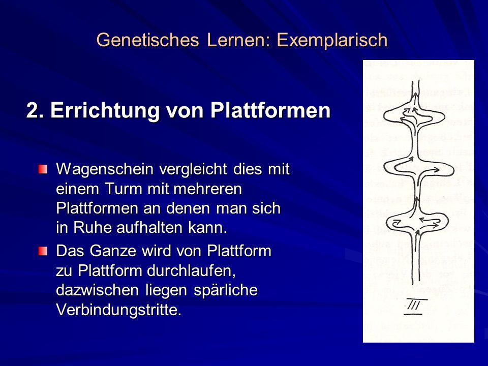 2. Errichtung von Plattformen Wagenschein vergleicht dies mit einem Turm mit mehreren Plattformen an denen man sich in Ruhe aufhalten kann. Das Ganze