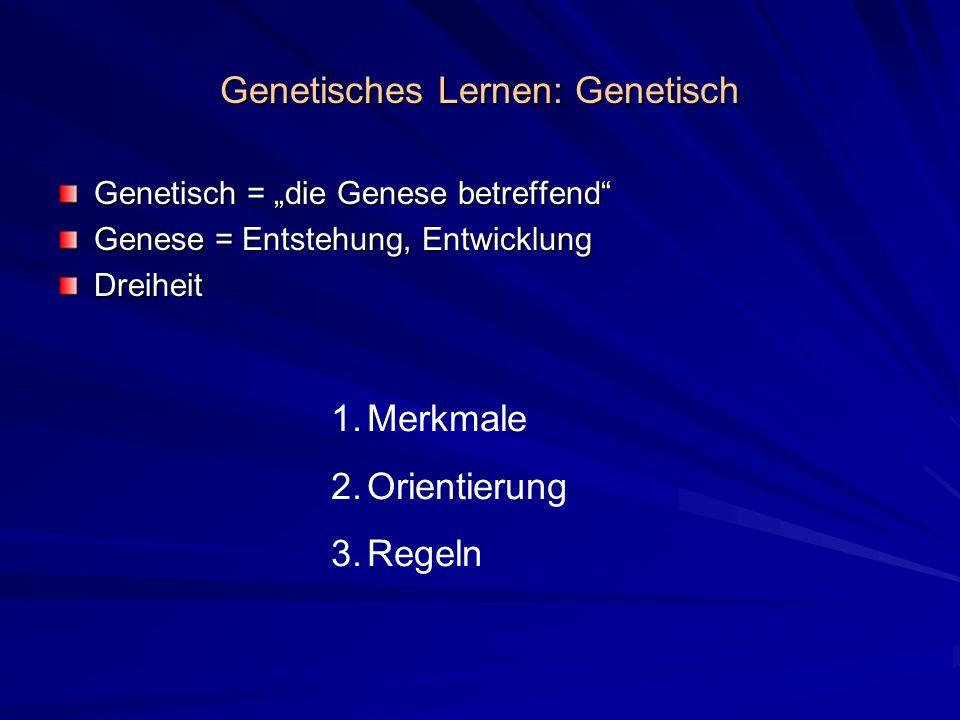 Genetisches Lernen: Genetisch Genetisch = die Genese betreffend Genese = Entstehung, Entwicklung Dreiheit 1.Merkmale 2.Orientierung 3.Regeln