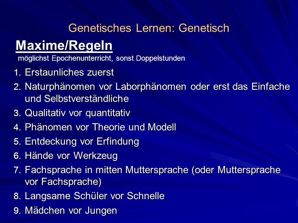 Genetisches Lernen: Genetisch Maxime/Regeln 1. Erstaunliches zuerst 2. Naturphänomen vor Laborphänomen oder erst das Einfache und Selbstverständliche