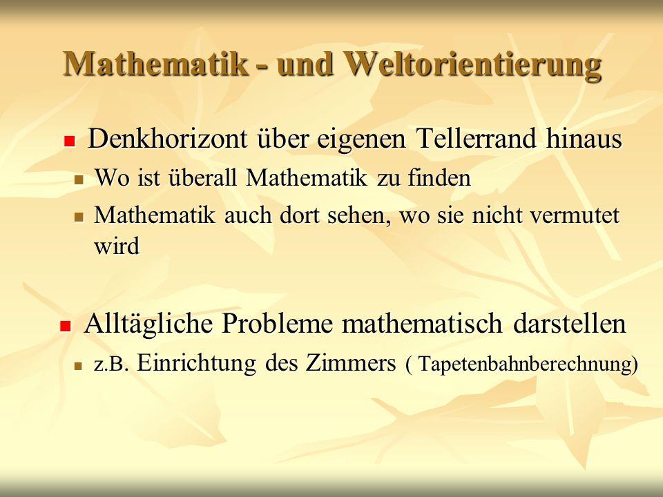 Mathematik - und Weltorientierung Denkhorizont über eigenen Tellerrand hinaus Denkhorizont über eigenen Tellerrand hinaus Wo ist überall Mathematik zu