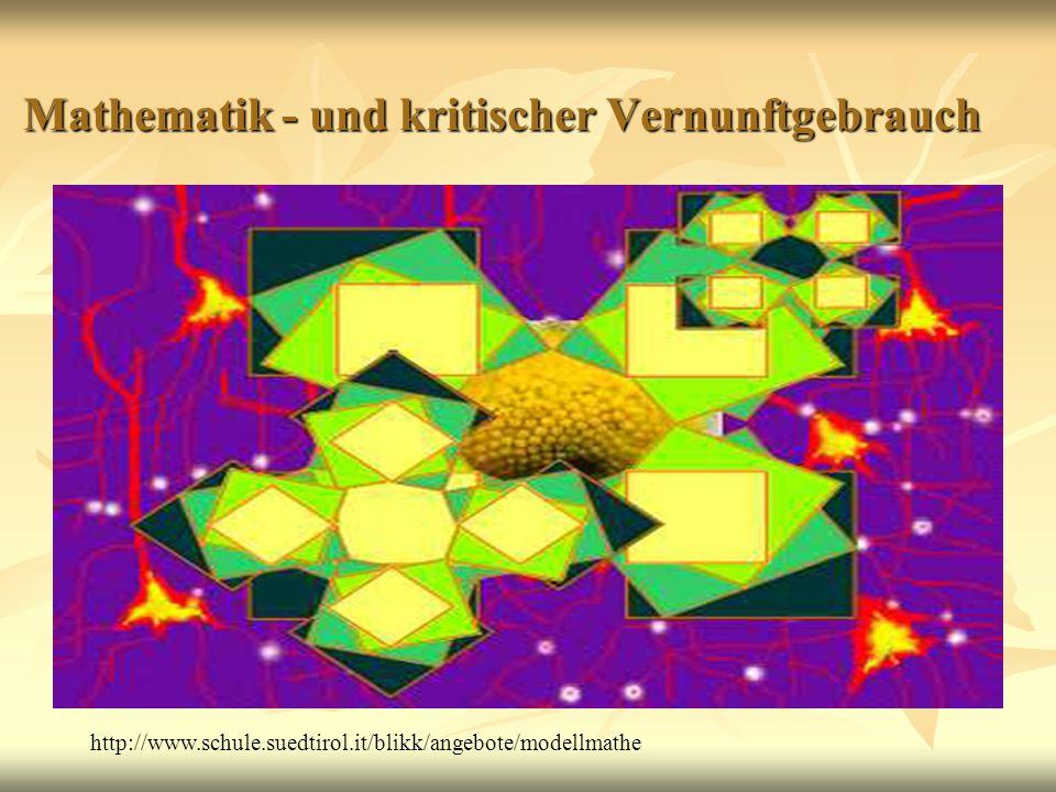 Mathematik - und kritischer Vernunftgebrauch Mathematik - und kritischer Vernunftgebrauch http://www.schule.suedtirol.it/blikk/angebote/modellmathe