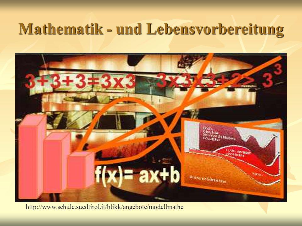 Mathematik - und Lebensvorbereitung http://www.schule.suedtirol.it/blikk/angebote/modellmathe