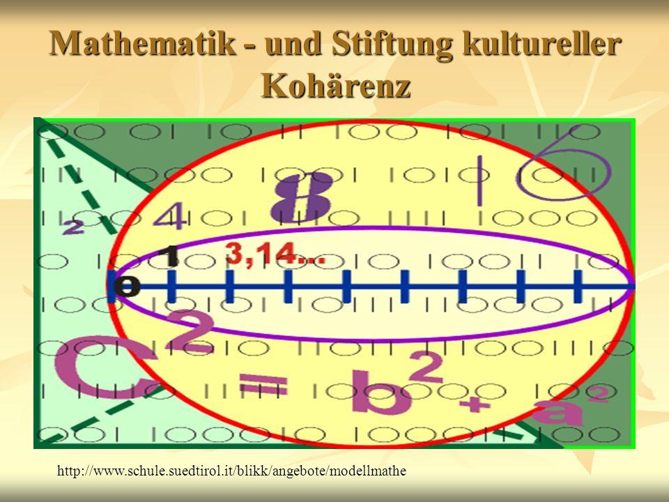 Mathematik - und Stiftung kultureller Kohärenz http://www.schule.suedtirol.it/blikk/angebote/modellmathe