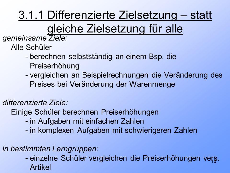 15 3.1.1 Differenzierte Zielsetzung – statt gleiche Zielsetzung für alle gemeinsame Ziele: Alle Schüler - berechnen selbstständig an einem Bsp. die Pr