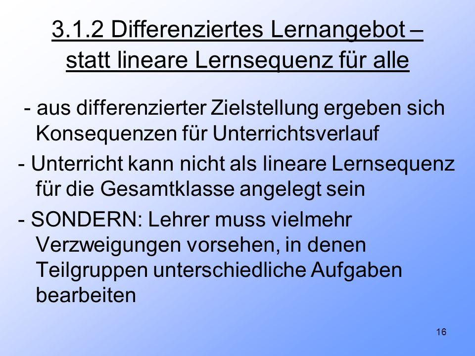 16 3.1.2 Differenziertes Lernangebot – statt lineare Lernsequenz für alle - aus differenzierter Zielstellung ergeben sich Konsequenzen für Unterrichts