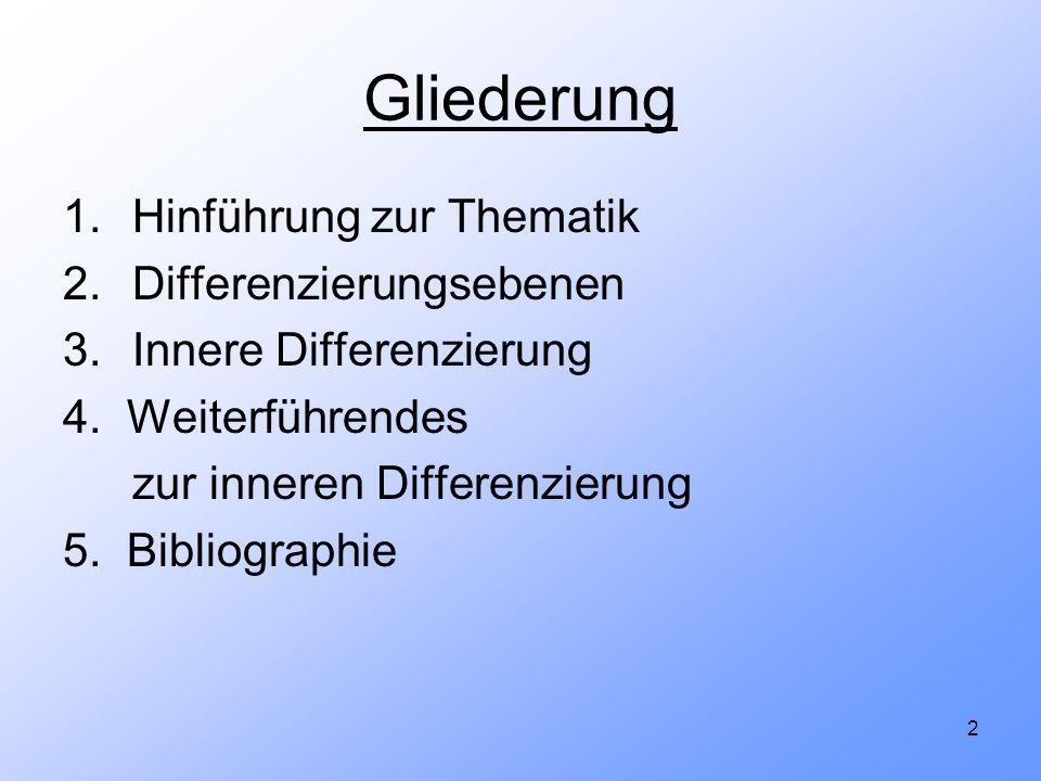 2 Gliederung 1.Hinführung zur Thematik 2.Differenzierungsebenen 3.Innere Differenzierung 4. Weiterführendes zur inneren Differenzierung 5. Bibliograph