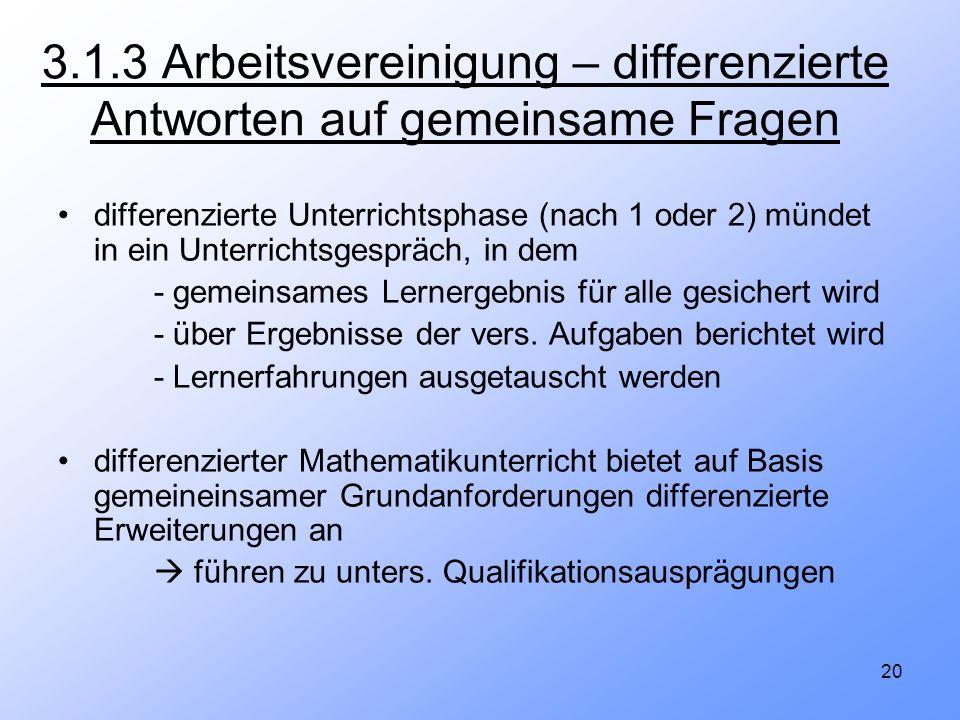 20 3.1.3 Arbeitsvereinigung – differenzierte Antworten auf gemeinsame Fragen differenzierte Unterrichtsphase (nach 1 oder 2) mündet in ein Unterrichts