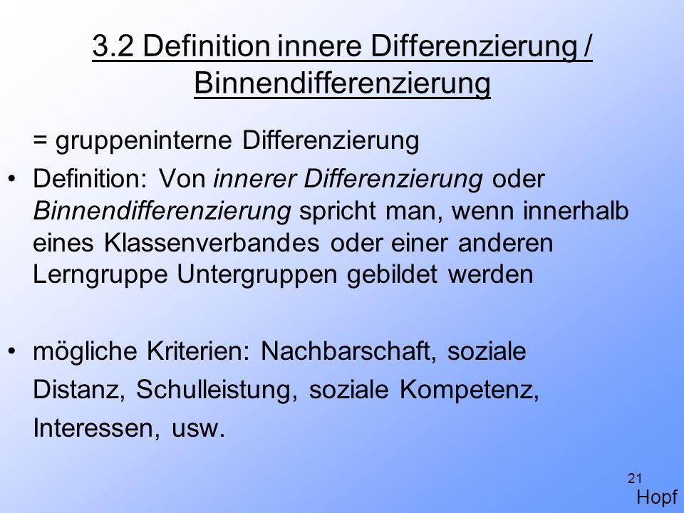 21 3.2 Definition innere Differenzierung / Binnendifferenzierung = gruppeninterne Differenzierung Definition: Von innerer Differenzierung oder Binnend