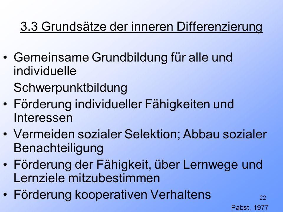 22 3.3 Grundsätze der inneren Differenzierung Gemeinsame Grundbildung für alle und individuelle Schwerpunktbildung Förderung individueller Fähigkeiten