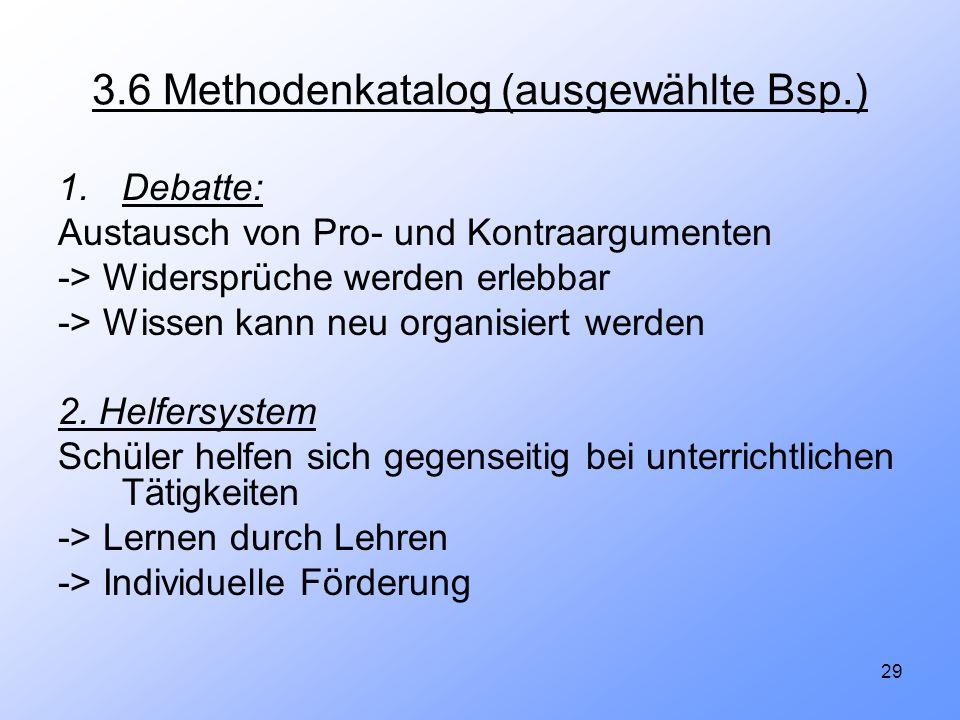 29 3.6 Methodenkatalog (ausgewählte Bsp.) 1.Debatte: Austausch von Pro- und Kontraargumenten -> Widersprüche werden erlebbar -> Wissen kann neu organi