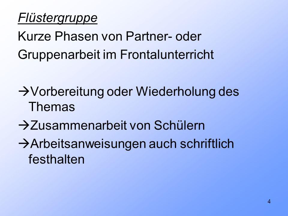 4 Flüstergruppe Kurze Phasen von Partner- oder Gruppenarbeit im Frontalunterricht Vorbereitung oder Wiederholung des Themas Zusammenarbeit von Schüler
