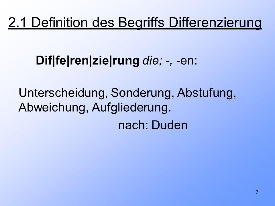 7 2.1 Definition des Begriffs Differenzierung Dif|fe|ren|zie|rung die; -, -en: Unterscheidung, Sonderung, Abstufung, Abweichung, Aufgliederung. nach: