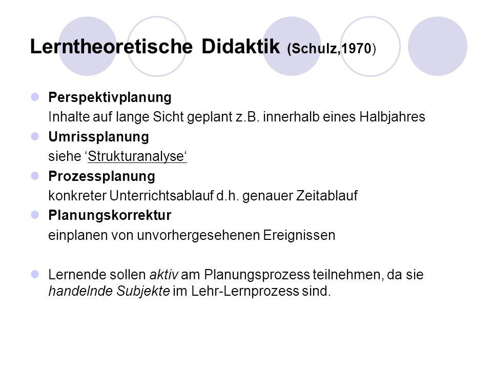 Lerntheoretische Didaktik (Schulz,1970) Perspektivplanung Inhalte auf lange Sicht geplant z.B. innerhalb eines Halbjahres Umrissplanung siehe Struktur