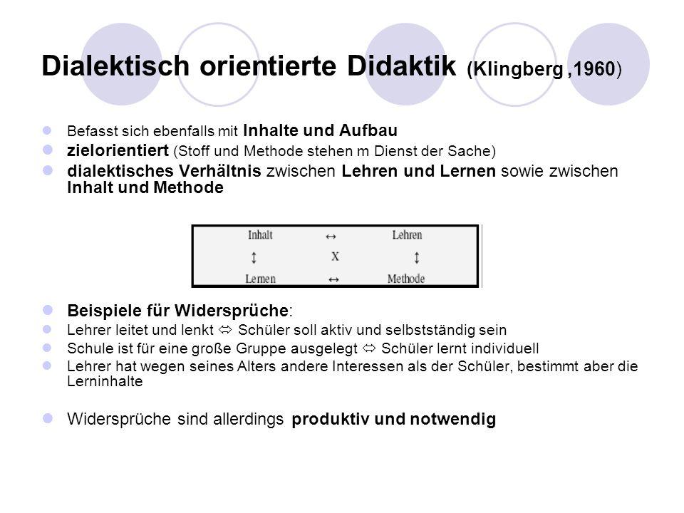 Dialektisch orientierte Didaktik (Klingberg,1960) Befasst sich ebenfalls mit Inhalte und Aufbau zielorientiert (Stoff und Methode stehen m Dienst der