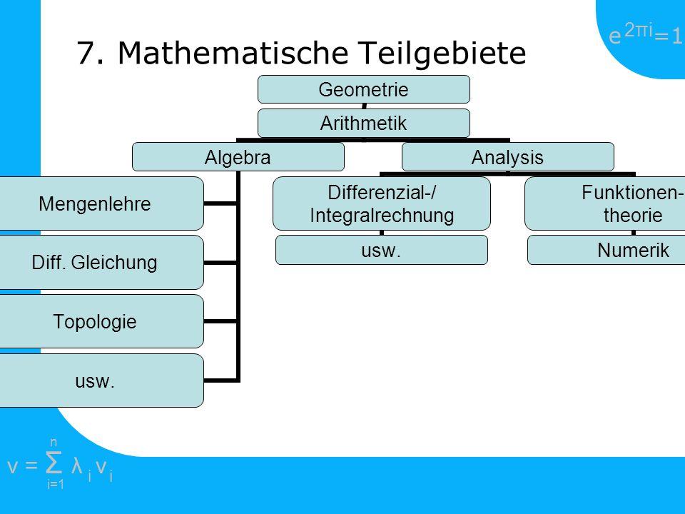 e =1 2πi2πi i=1 v = Σ λ v ii n Geometrie Arithmetik Algebra Mengenlehre Diff. Gleichung Topologie usw. Analysis Differenzial-/ Integralrechnung usw. F