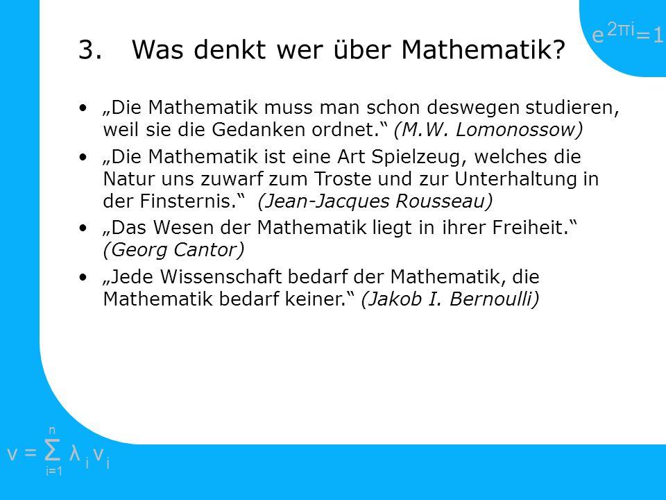 e =1 2πi2πi i=1 v = Σ λ v ii n 1707-1783 Basel / Schweiz Studierte bei Johann Bernoulli Erblindete 1771 forschte trotzdem noch weiter viele mathematische Symbole (Summenzeichen, e) gehen auf ihn zurück gilt als Begründer der Analysis Beschäftigte sich mit Differential- und Integralrechnung, Zahlentheorie, Algebra Insgesamt gibt es 866 Publikationen von Euler, darunter: 5.