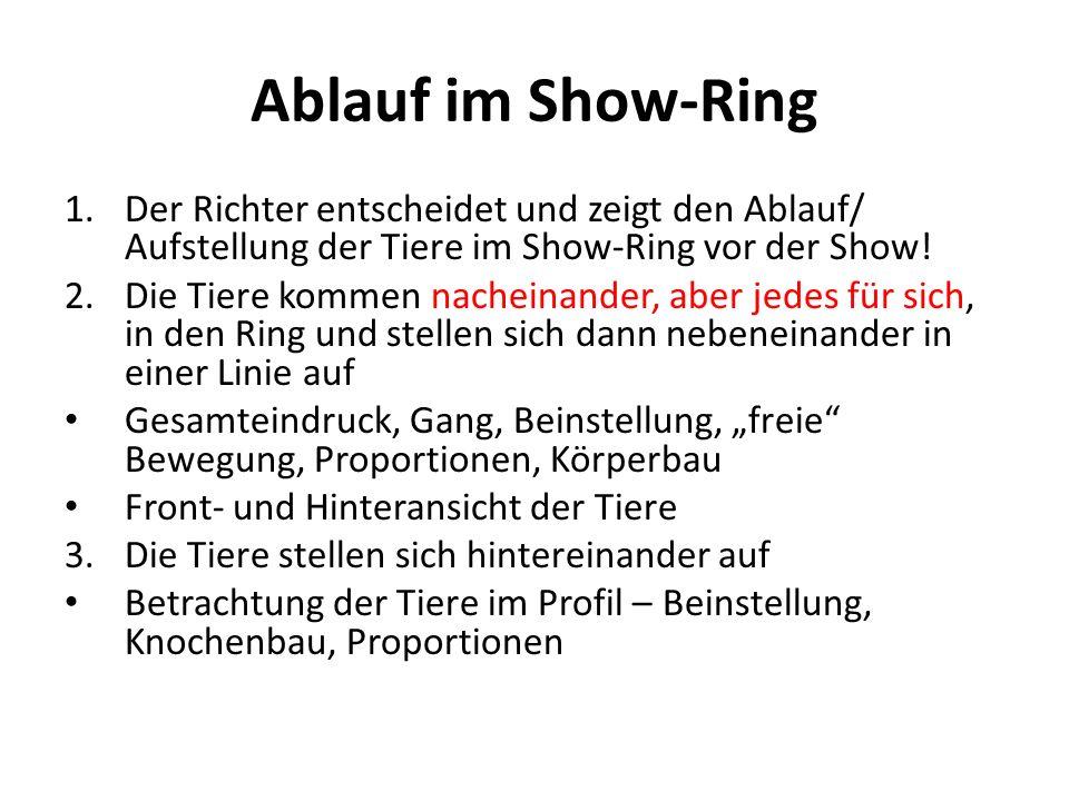 Ablauf im Show-Ring 1.Der Richter entscheidet und zeigt den Ablauf/ Aufstellung der Tiere im Show-Ring vor der Show! 2.Die Tiere kommen nacheinander,