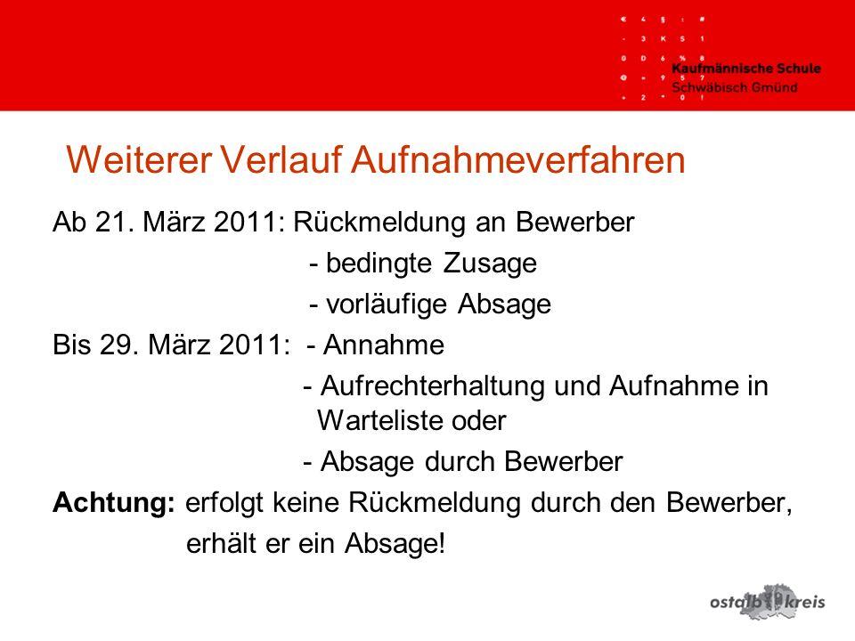 Weiterer Verlauf Aufnahmeverfahren Ab 21. März 2011: Rückmeldung an Bewerber - bedingte Zusage - vorläufige Absage Bis 29. März 2011: - Annahme - Aufr