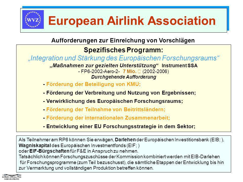MAGORI CONSULTING INGENIEURBÜRO European Airlink Association Aufforderungen zur Einreichung von Vorschlägen Spezifisches Programm: Integration und Stä