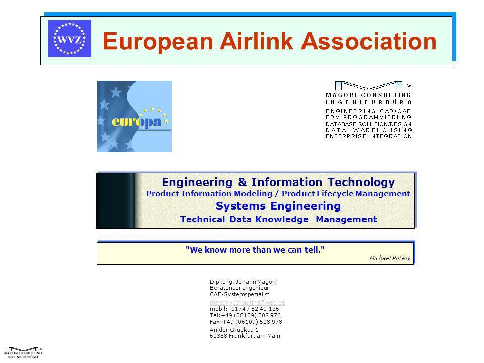 MAGORI CONSULTING INGENIEURBÜRO European Airlink Association Dipl.Ing. Johann Magori Beratender Ingenieur CAE-Systemspezialist magori-consulting@web.d
