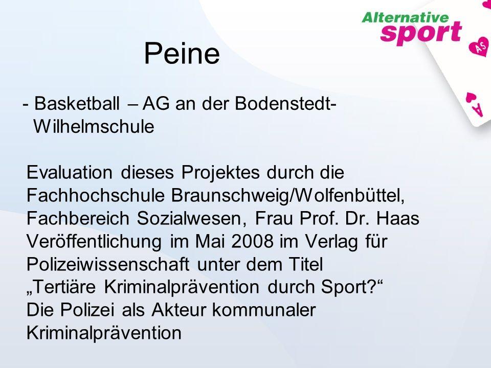 Evaluation dieses Projektes durch die Fachhochschule Braunschweig/Wolfenbüttel, Fachbereich Sozialwesen, Frau Prof. Dr. Haas Veröffentlichung im Mai 2