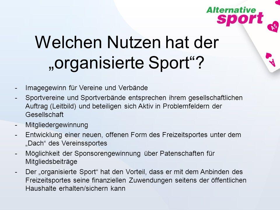 Welchen Nutzen hat der organisierte Sport? -Imagegewinn für Vereine und Verbände -Sportvereine und Sportverbände entsprechen ihrem gesellschaftlichen